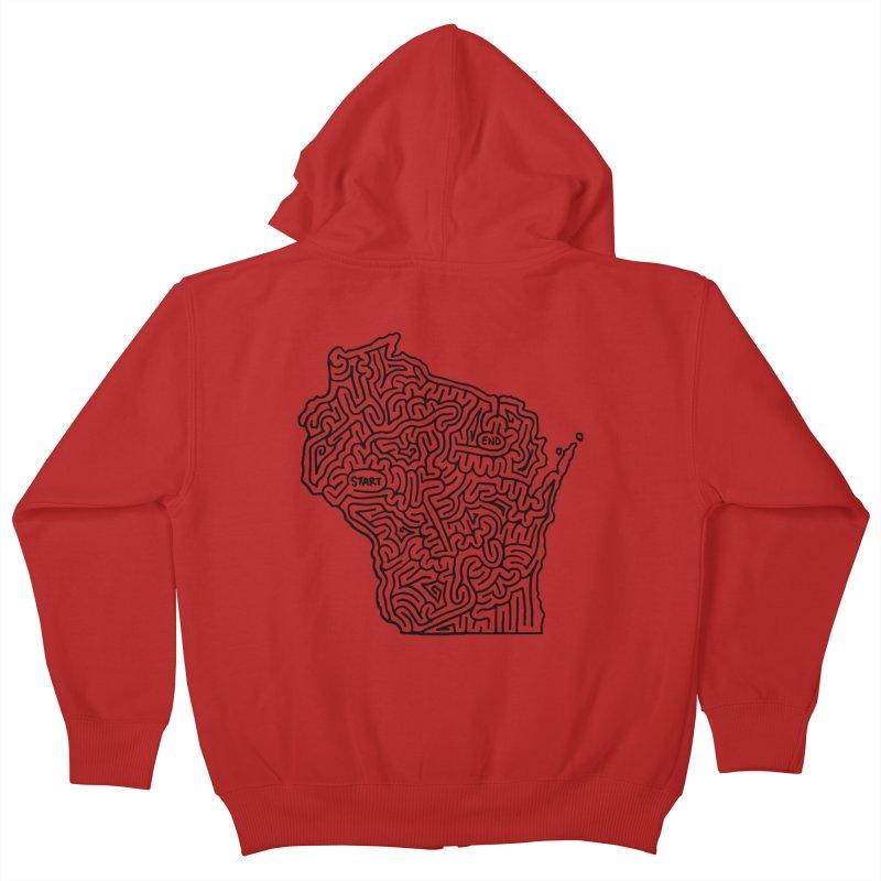 Wisconsin maze (black) Kids Zip-Up Hoody by idrawmazes's Artist Shop