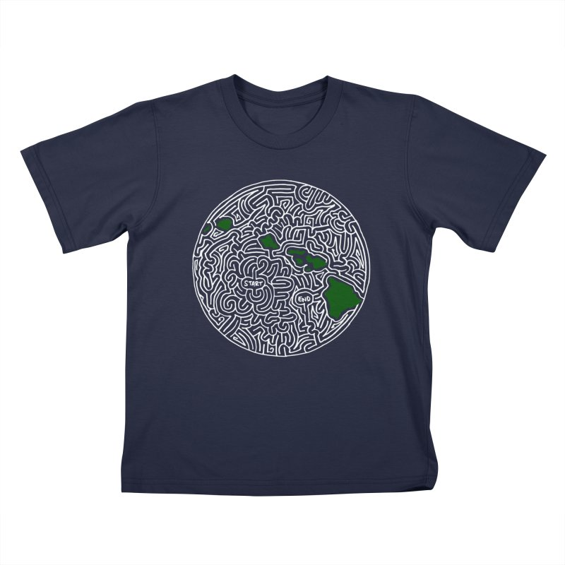 Hawaii maze (white w/ green) Kids T-shirt by idrawmazes's Artist Shop