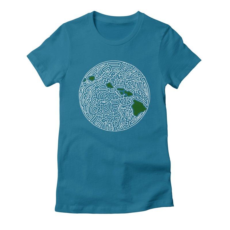 Hawaii maze (white w/ green) Women's Fitted T-Shirt by idrawmazes's Artist Shop