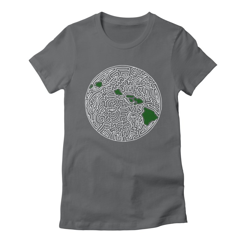 Hawaii maze (white w/ green) Women's Fitted T-Shirt by I Draw Mazes's Artist Shop