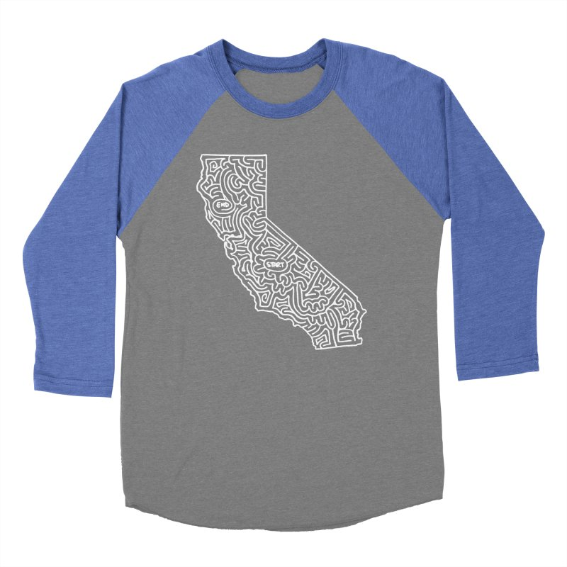 California maze (white) Women's Baseball Triblend T-Shirt by idrawmazes's Artist Shop