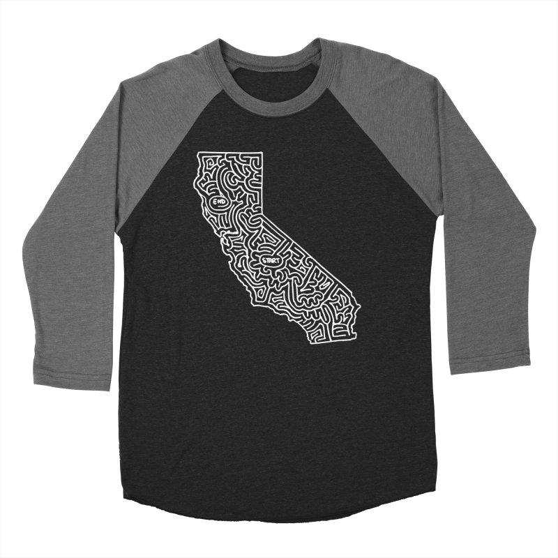 California maze (white) Women's Baseball Triblend Longsleeve T-Shirt by idrawmazes's Artist Shop