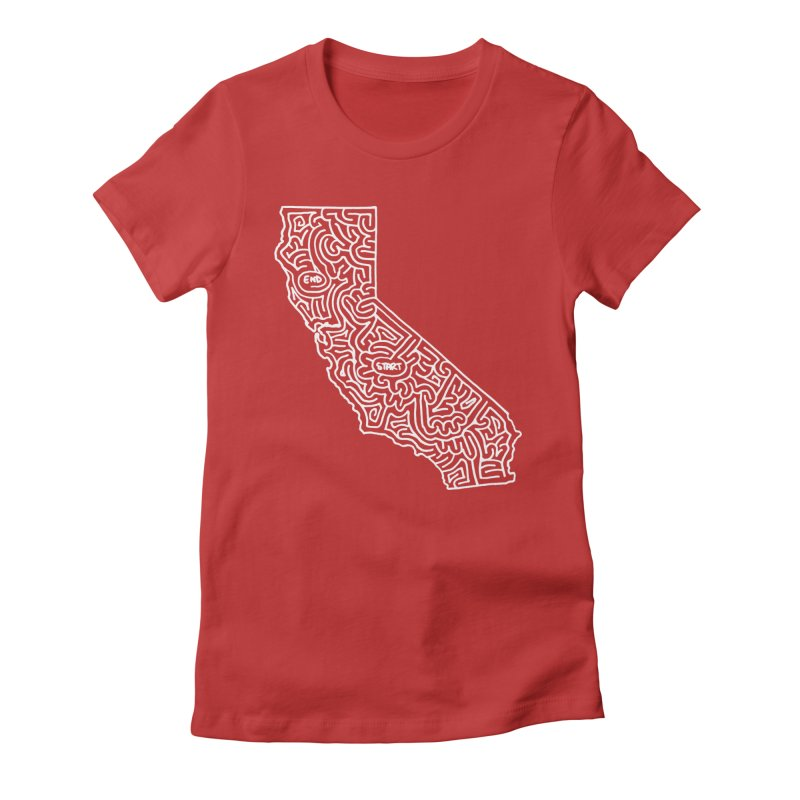 California maze (white) Women's Fitted T-Shirt by I Draw Mazes's Artist Shop
