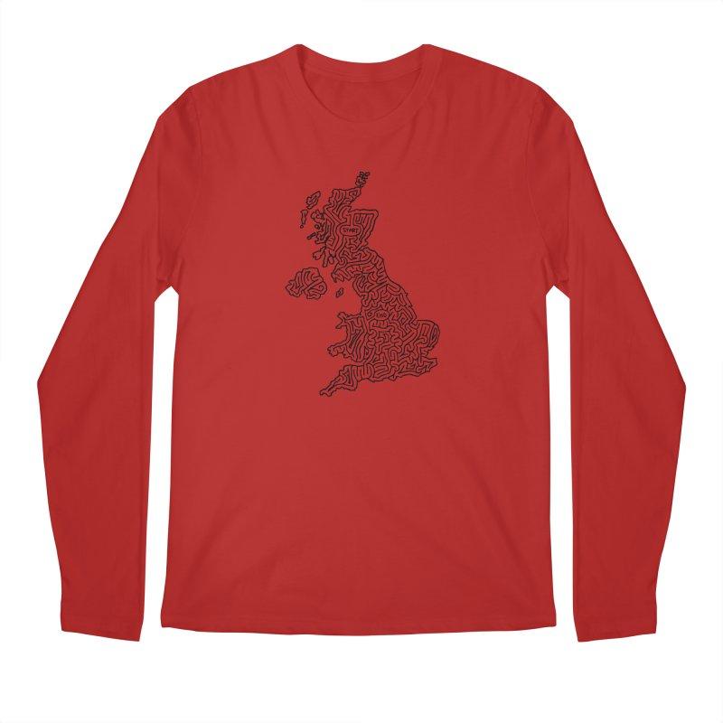 United Kingdom maze (black) Men's Longsleeve T-Shirt by idrawmazes's Artist Shop