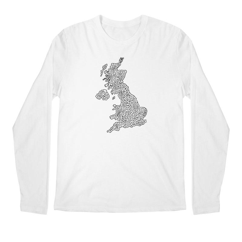 United Kingdom maze (black) Men's Regular Longsleeve T-Shirt by I Draw Mazes's Artist Shop