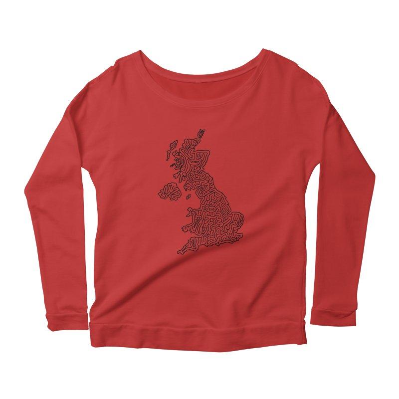 United Kingdom maze (black) Women's Scoop Neck Longsleeve T-Shirt by idrawmazes's Artist Shop