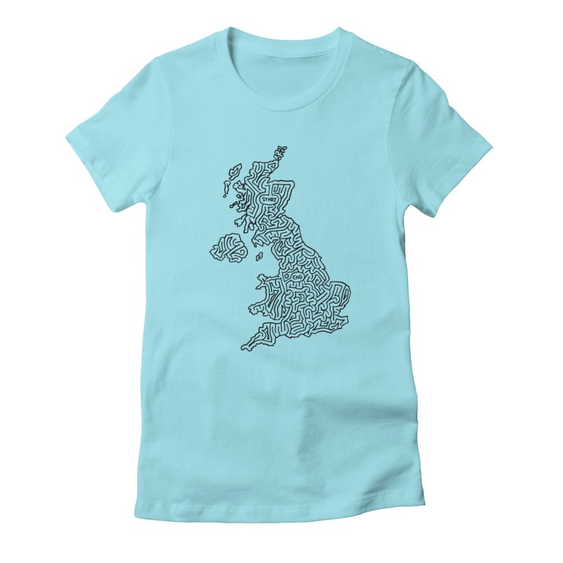 United Kingdom maze (black) Women's Fitted T-Shirt by idrawmazes's Artist Shop