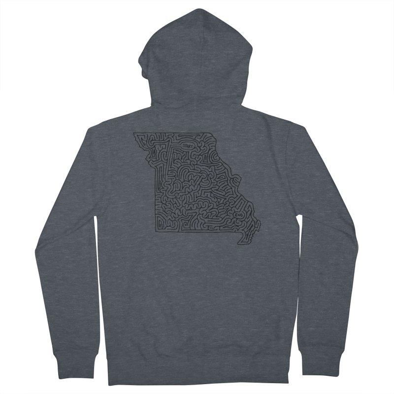 Missouri maze (black) Men's Zip-Up Hoody by idrawmazes's Artist Shop