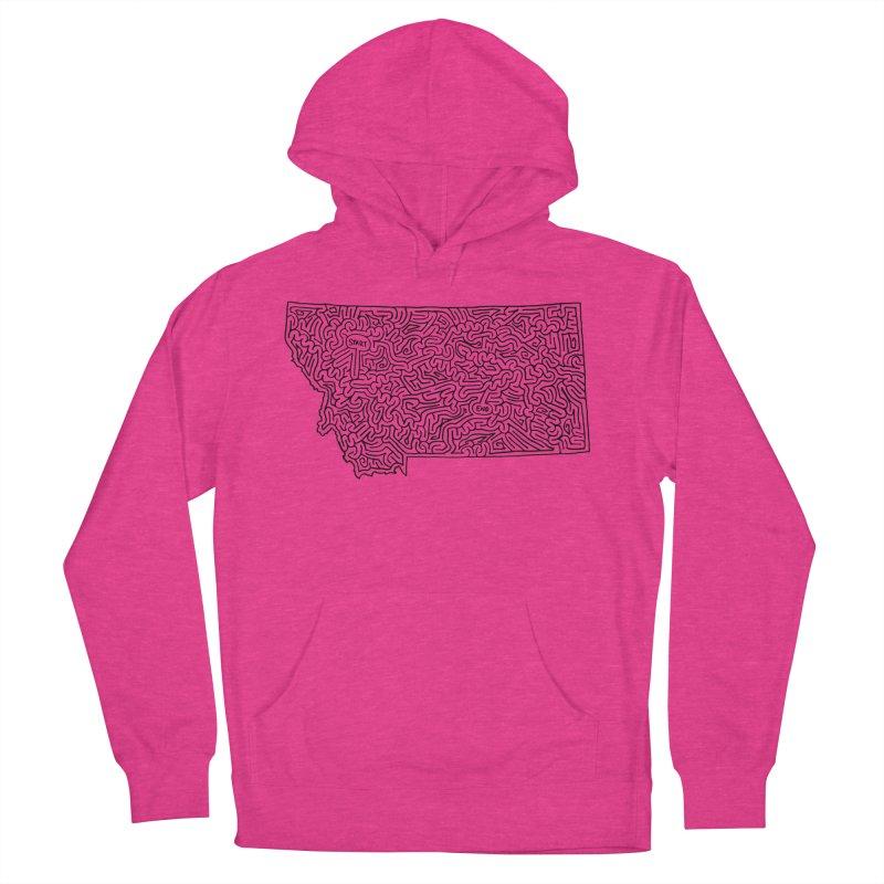 Montana maze (black) Women's Pullover Hoody by idrawmazes's Artist Shop