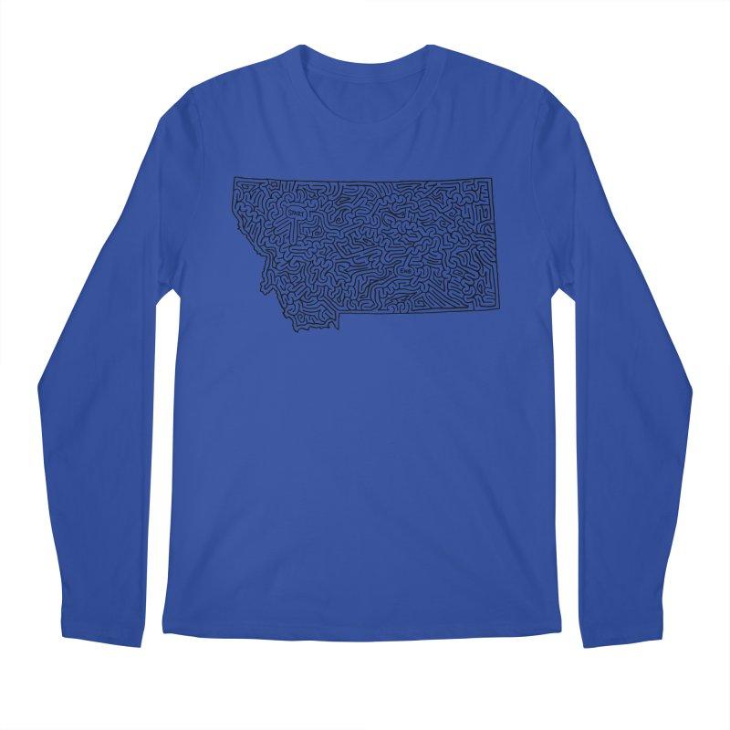 Montana maze (black) Men's Longsleeve T-Shirt by idrawmazes's Artist Shop