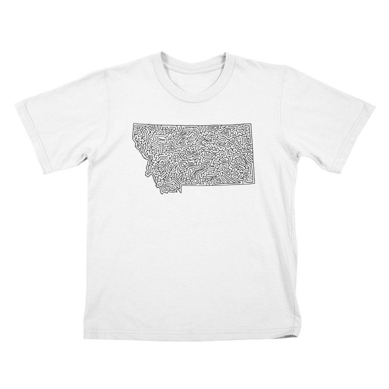 Montana maze (black) Kids T-Shirt by idrawmazes's Artist Shop