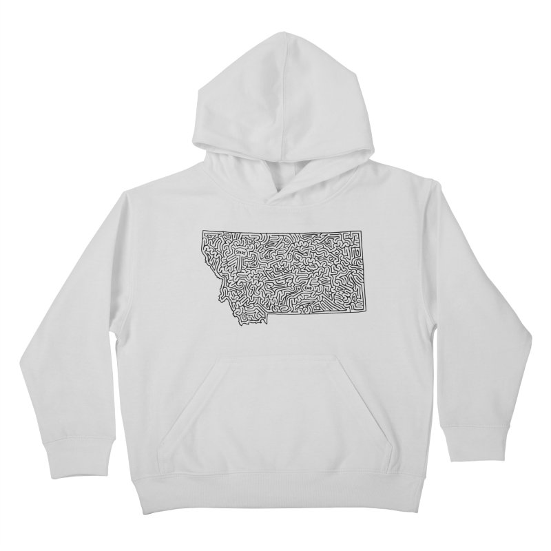 Montana maze (black) Kids Pullover Hoody by idrawmazes's Artist Shop