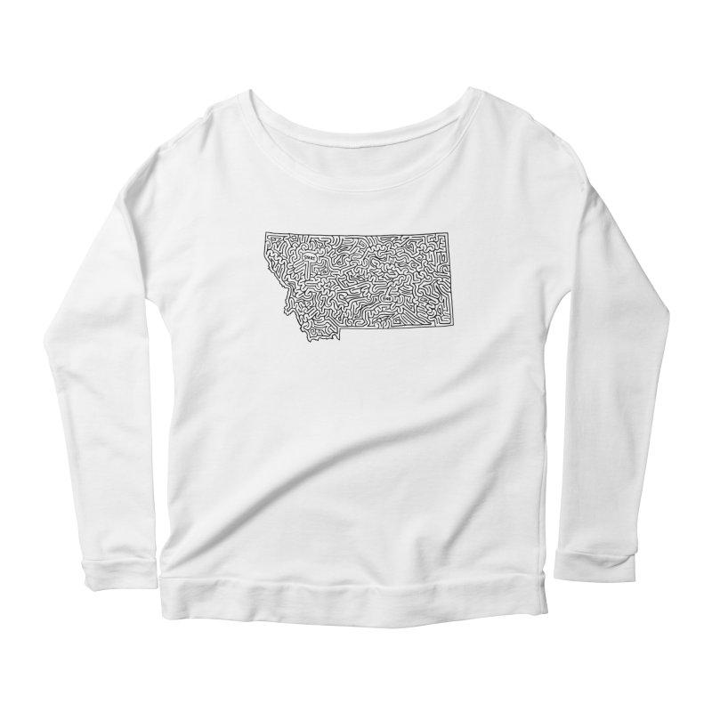 Montana maze (black) Women's Scoop Neck Longsleeve T-Shirt by idrawmazes's Artist Shop