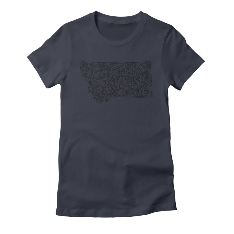 Montana maze (black) Women's Fitted T-Shirt by idrawmazes's Artist Shop