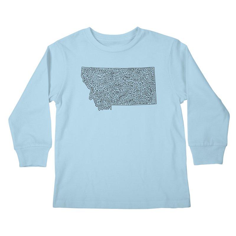 Montana maze (black) Kids Longsleeve T-Shirt by I Draw Mazes's Artist Shop