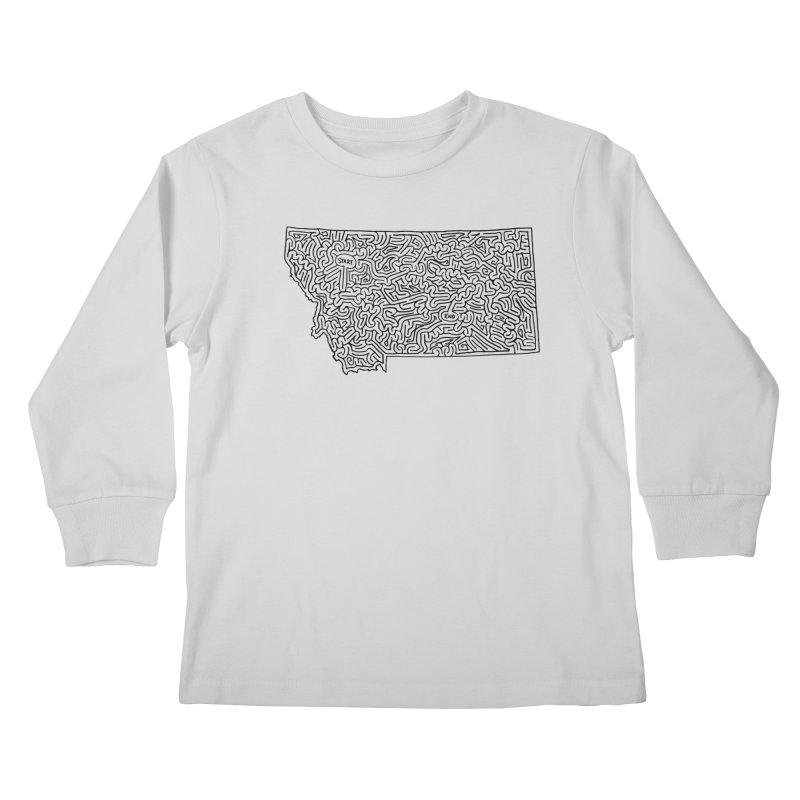 Montana maze (black) Kids Longsleeve T-Shirt by idrawmazes's Artist Shop