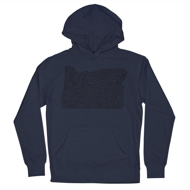 Oregon maze (black) Women's Pullover Hoody by idrawmazes's Artist Shop