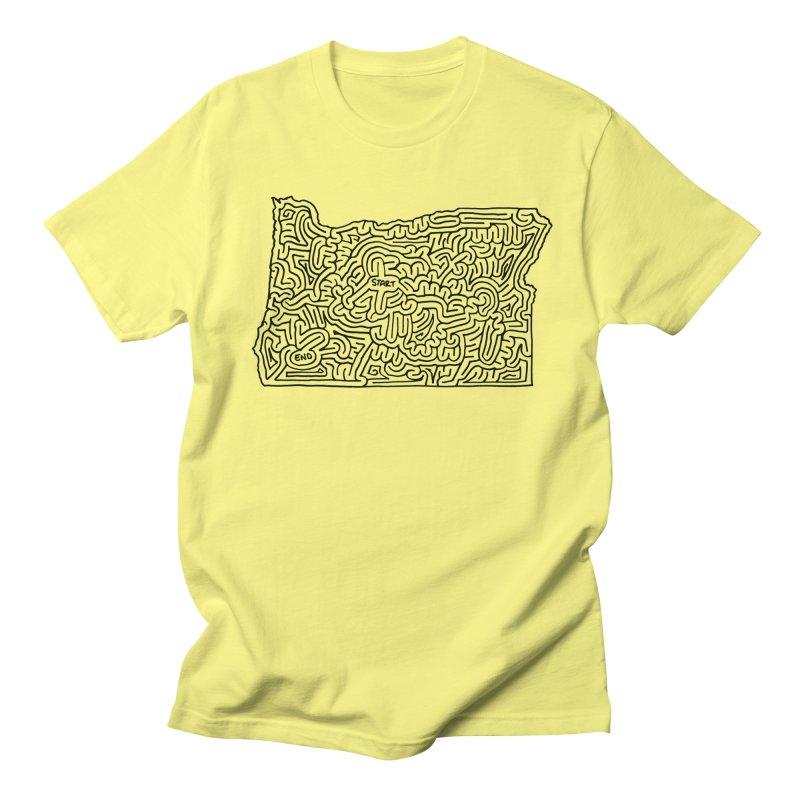 Oregon maze (black) Women's Regular Unisex T-Shirt by I Draw Mazes's Artist Shop