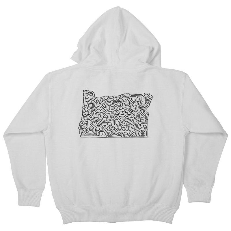 Oregon maze (black) Kids Zip-Up Hoody by idrawmazes's Artist Shop