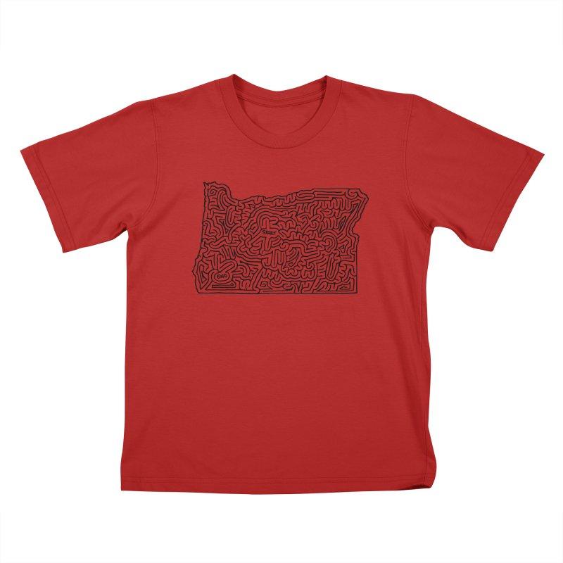 Oregon maze (black) Kids T-shirt by idrawmazes's Artist Shop