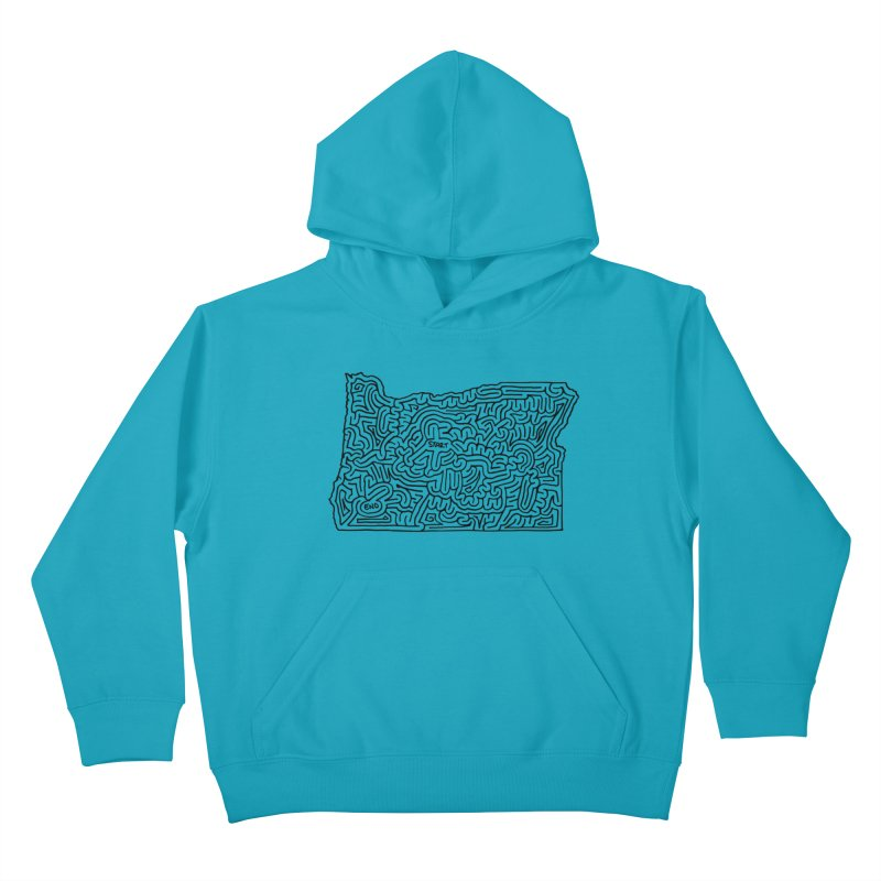 Oregon maze (black) Kids Pullover Hoody by idrawmazes's Artist Shop