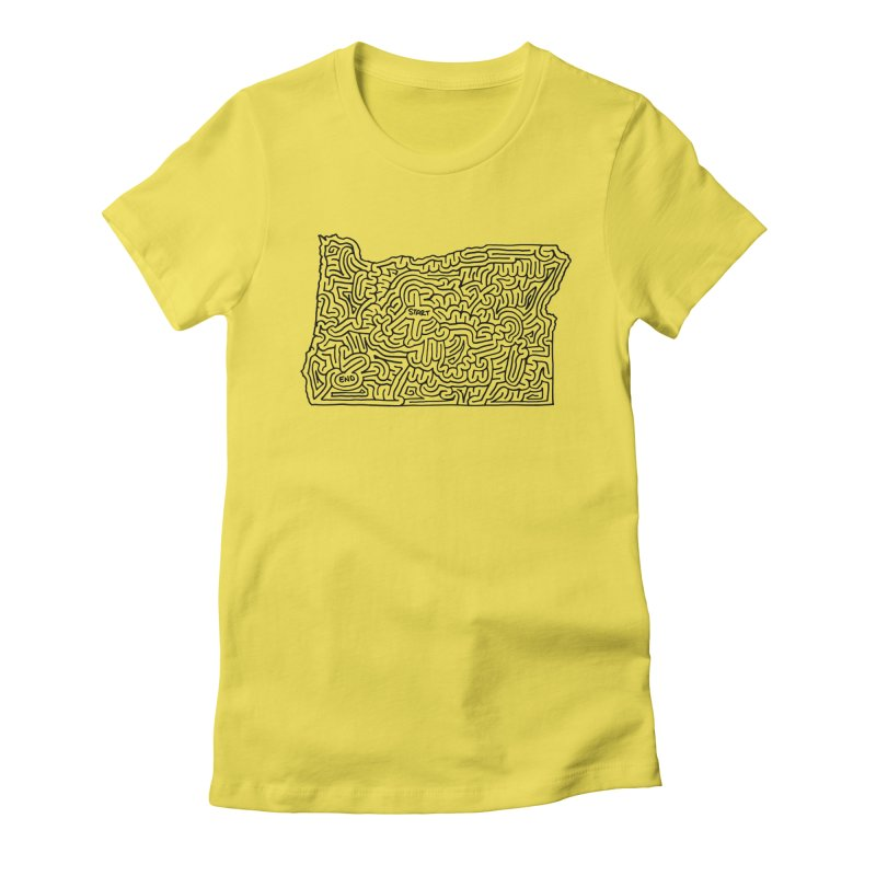 Oregon maze (black) Women's Fitted T-Shirt by I Draw Mazes's Artist Shop