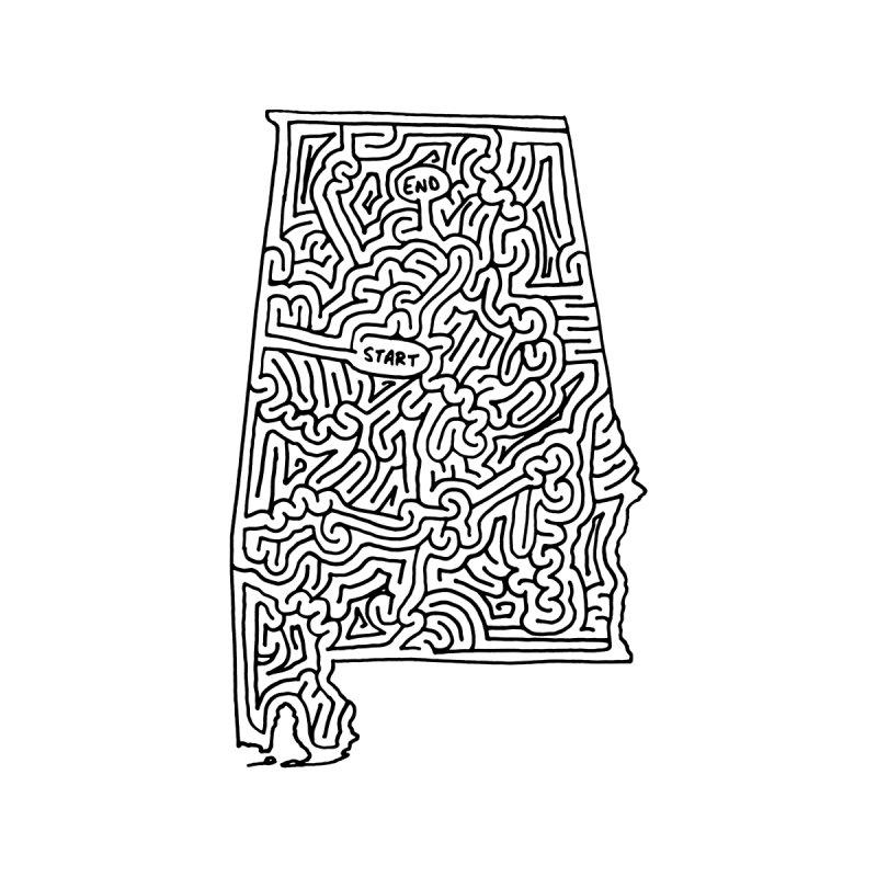 Alabama maze (black) by idrawmazes's Artist Shop