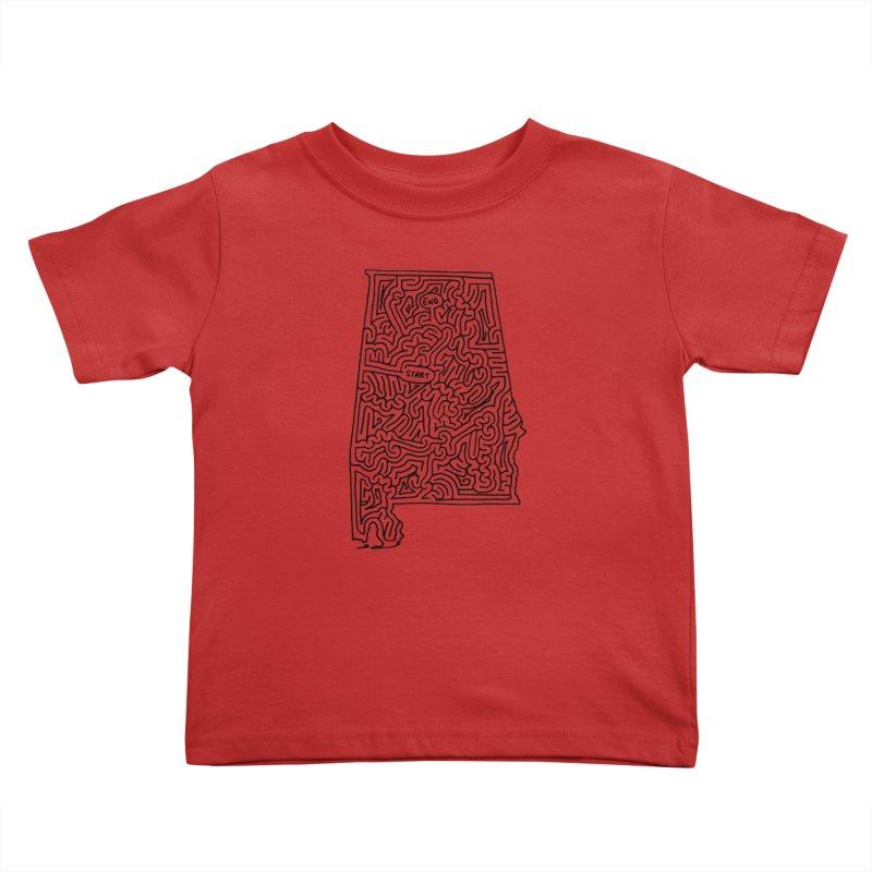 Alabama maze (black) Kids Toddler T-Shirt by idrawmazes's Artist Shop