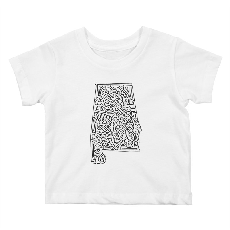 Alabama maze (black) Kids Baby T-Shirt by idrawmazes's Artist Shop