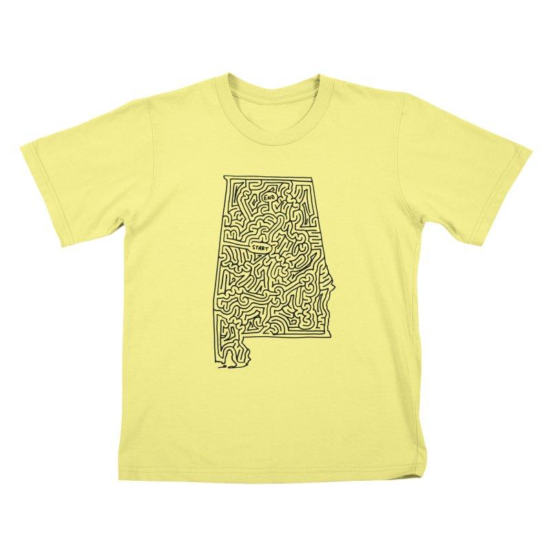 Alabama maze (black) Kids T-shirt by idrawmazes's Artist Shop