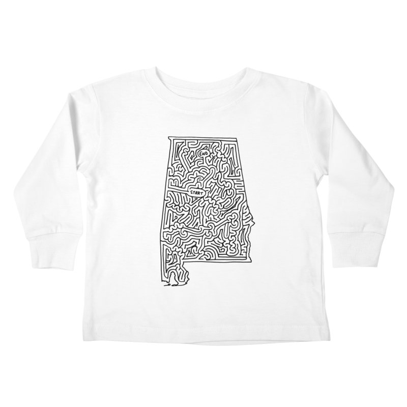 Alabama maze (black) Kids Toddler Longsleeve T-Shirt by idrawmazes's Artist Shop