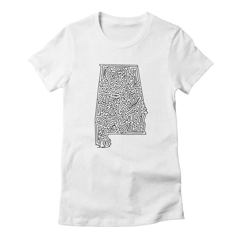 Alabama maze (black) Women's Fitted T-Shirt by idrawmazes's Artist Shop