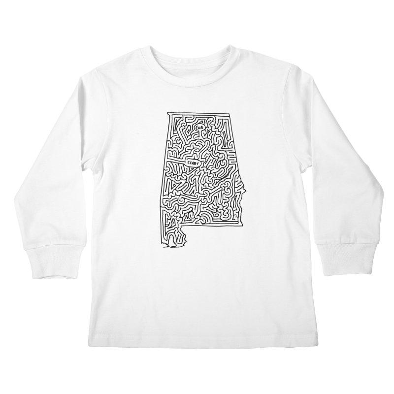 Alabama maze (black) Kids Longsleeve T-Shirt by idrawmazes's Artist Shop