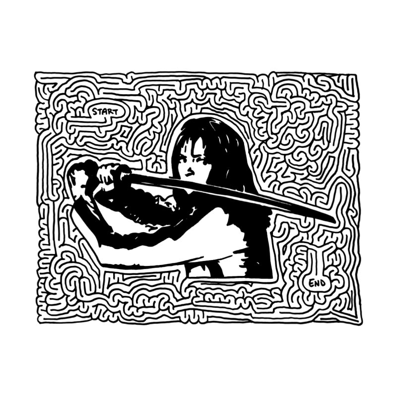 Woman with Sword maze (black) None  by idrawmazes's Artist Shop