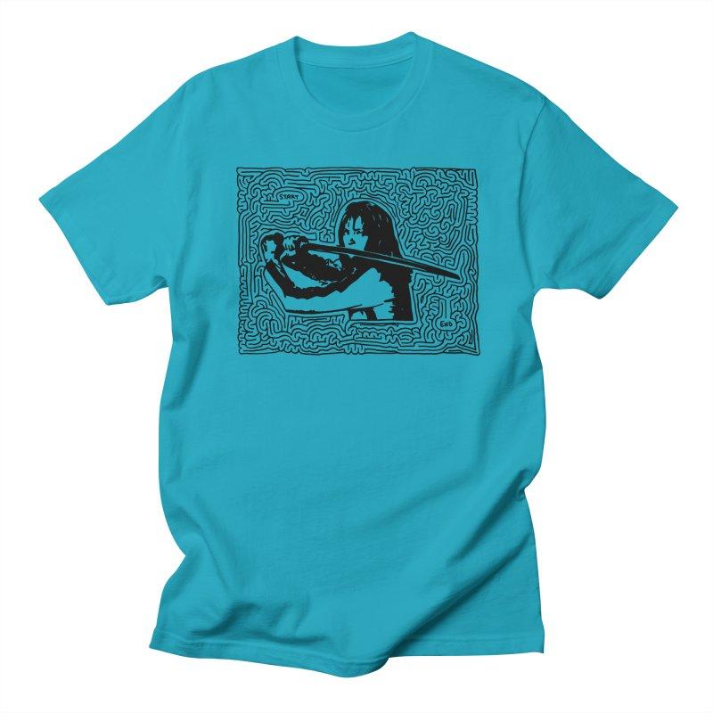 Woman with Sword maze (black) Women's Regular Unisex T-Shirt by I Draw Mazes's Artist Shop