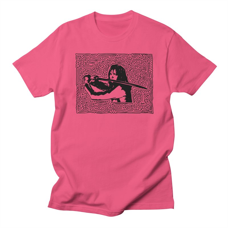 Woman with Sword maze (black) Men's T-Shirt by idrawmazes's Artist Shop