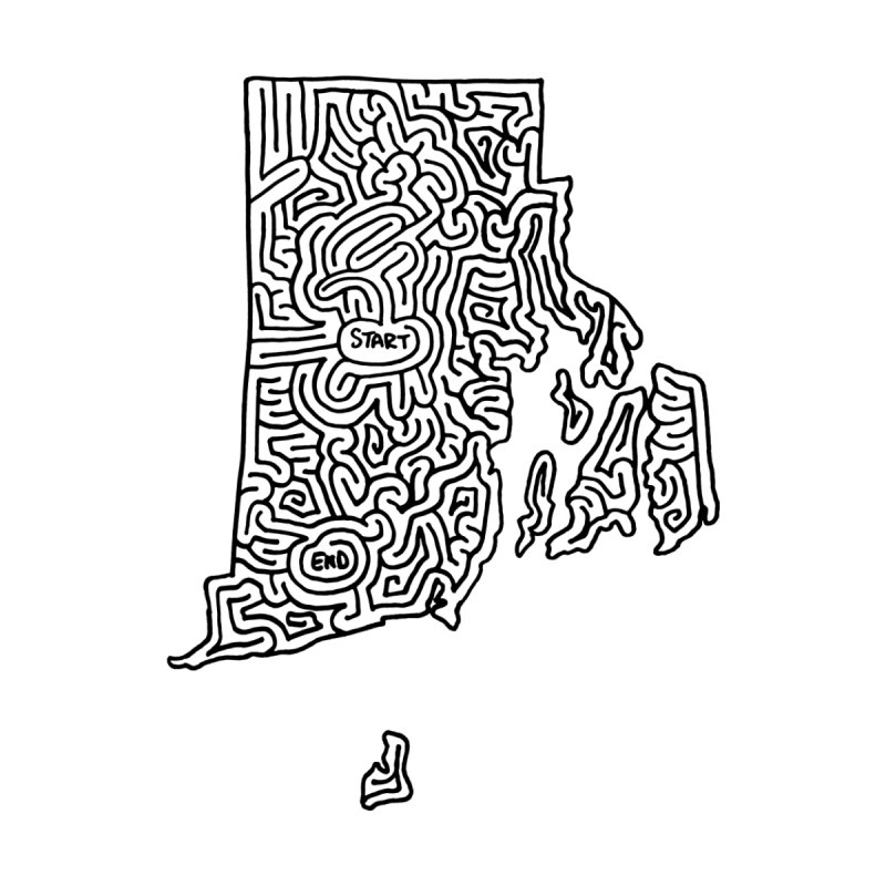 Rhode Island maze (black) by idrawmazes's Artist Shop