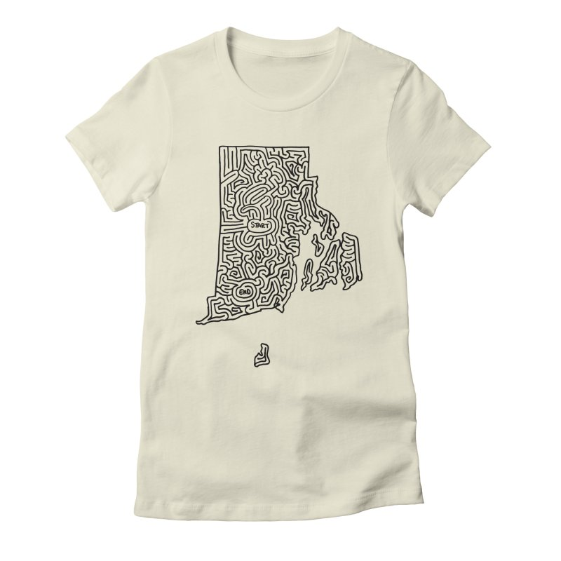Rhode Island maze (black) Women's Fitted T-Shirt by idrawmazes's Artist Shop