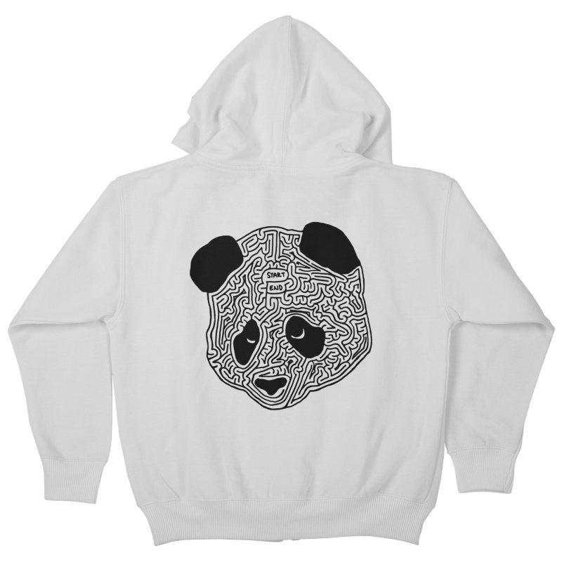 Panda maze (black) Kids Zip-Up Hoody by idrawmazes's Artist Shop
