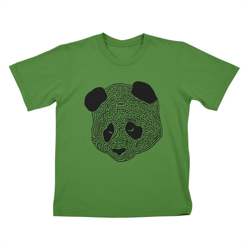 Panda maze (black) Kids T-Shirt by idrawmazes's Artist Shop