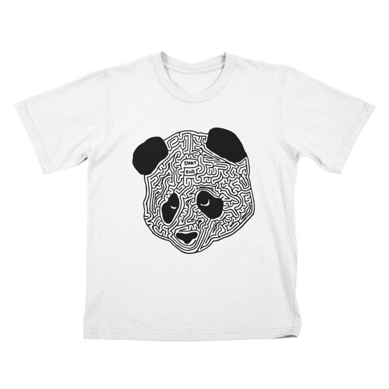 Panda maze (black) Kids T-Shirt by I Draw Mazes's Artist Shop