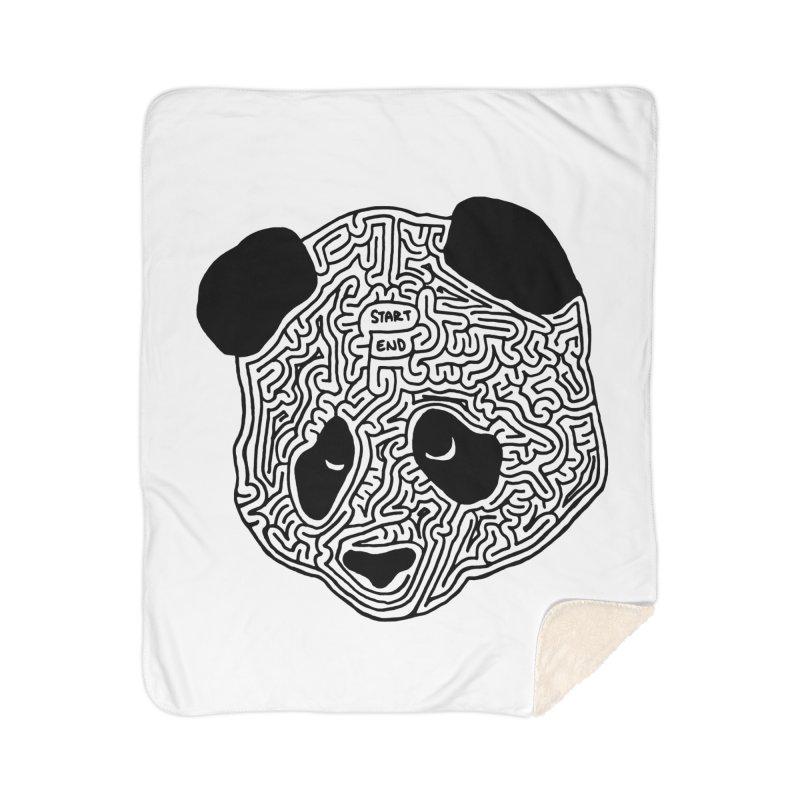 Panda maze (black) Home Sherpa Blanket Blanket by I Draw Mazes's Artist Shop