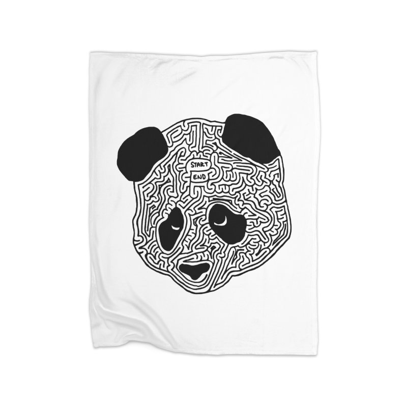 Panda maze (black) Home Blanket by idrawmazes's Artist Shop