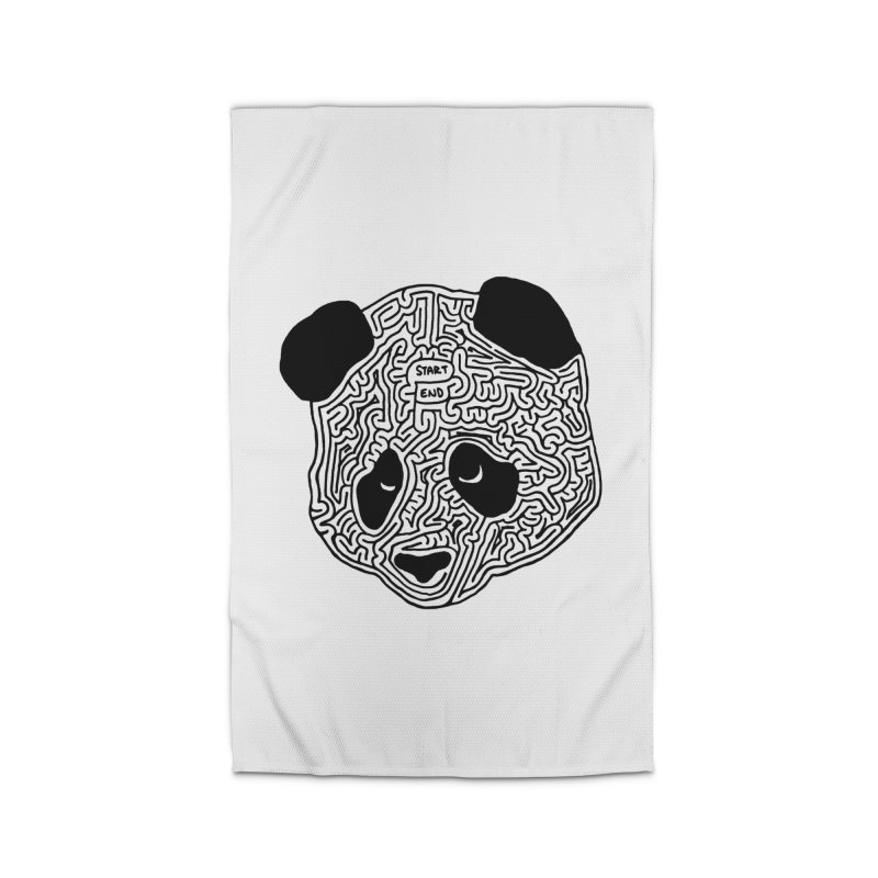 Panda maze (black) Home Rug by I Draw Mazes's Artist Shop