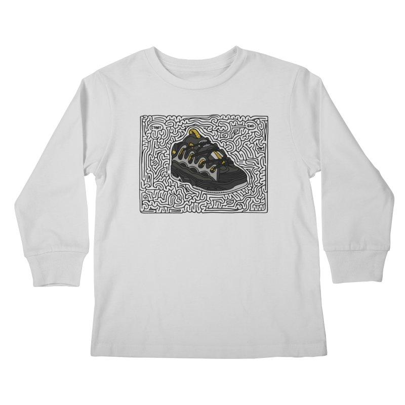 D3 maze (black w/ color) Kids Longsleeve T-Shirt by I Draw Mazes's Artist Shop