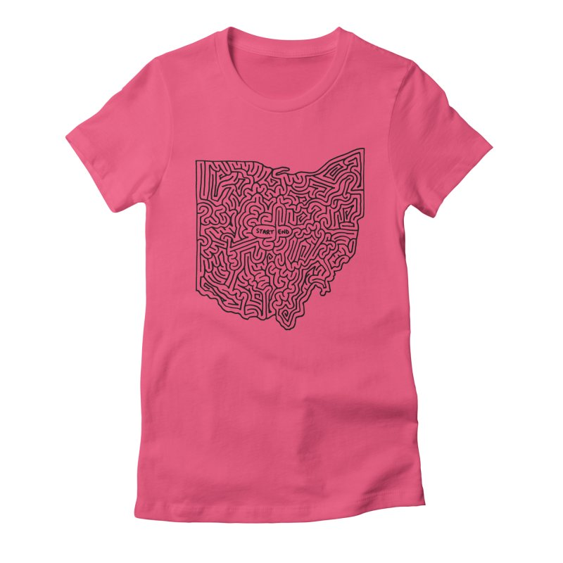 Ohio maze (black) Women's Fitted T-Shirt by idrawmazes's Artist Shop