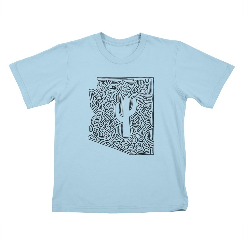Arizona maze (black) Kids T-Shirt by idrawmazes's Artist Shop