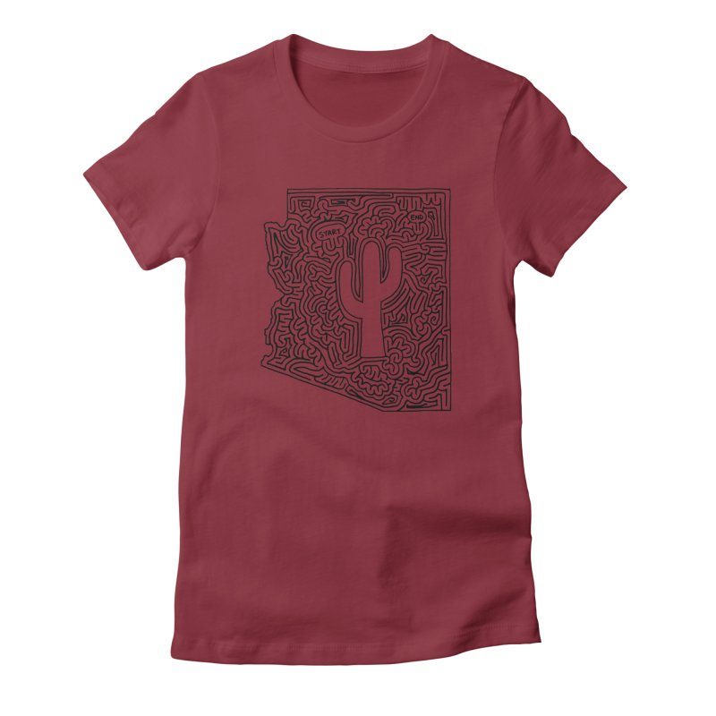 Arizona maze (black) Women's Fitted T-Shirt by I Draw Mazes's Artist Shop
