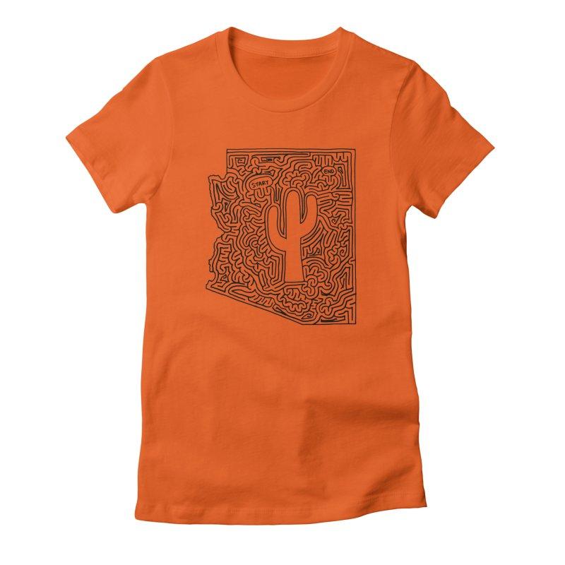 Arizona maze (black) Women's Fitted T-Shirt by idrawmazes's Artist Shop