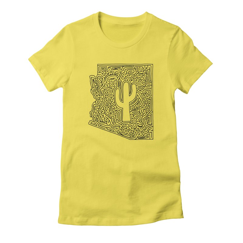 Arizona maze (black) Women's Fitted T-Shirt by idrawmazes's Artist Shop
